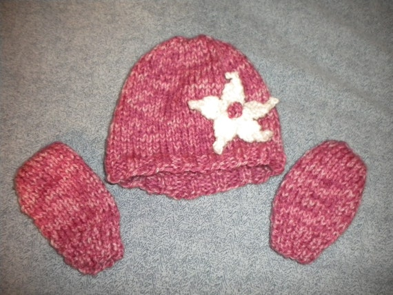 Infant Mittens and Flower Hat