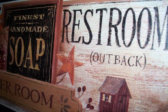 Primitive Bathroom Wall Decor Plaque RESTROOMS OUTBACK