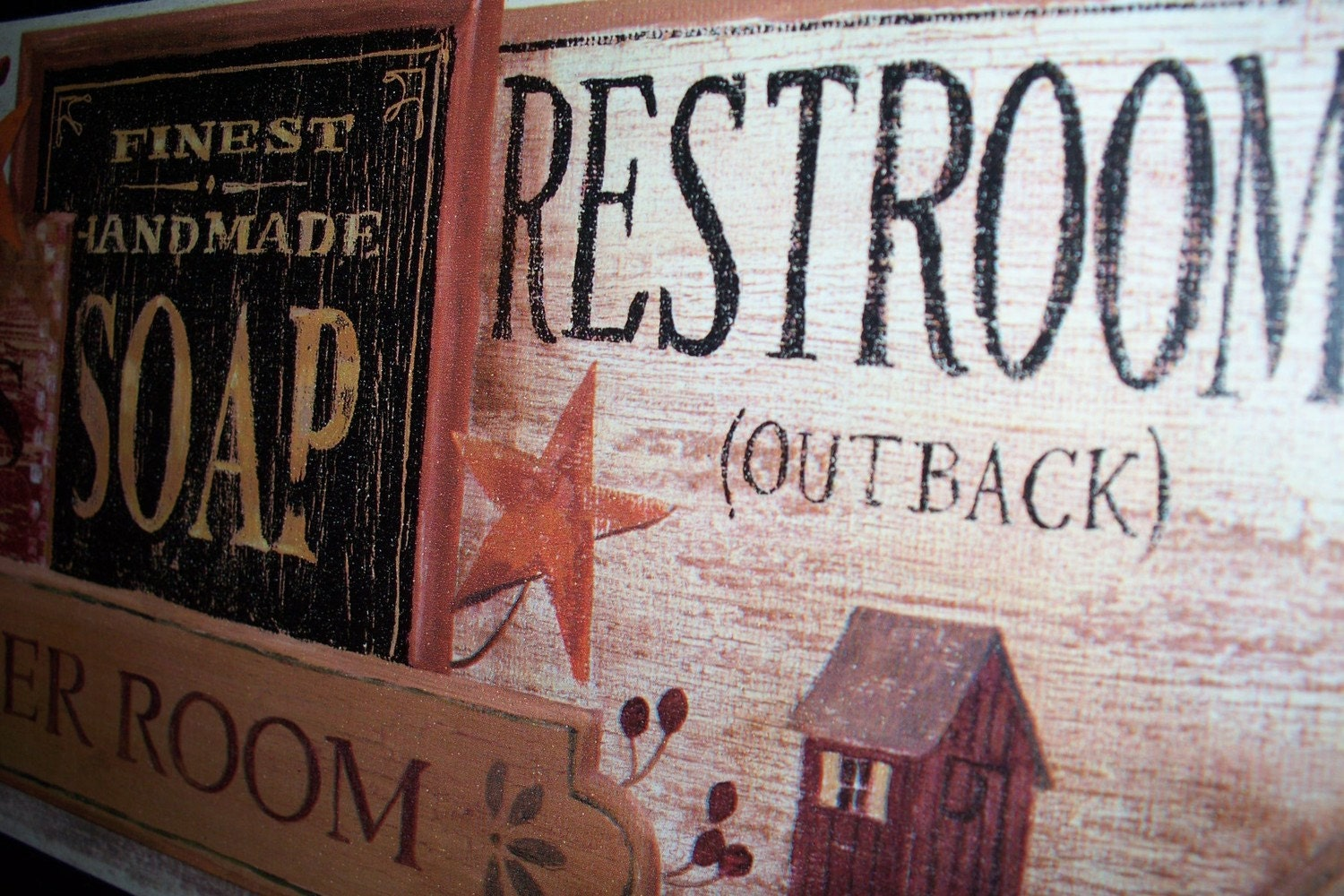 Primitive Bathroom Wall Decor Plaque by ozarkmtnhomestead on Etsy