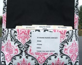 Coupon Organizer Purse Receipt Holder Black and Candy Pink Damask Duck Canvas Fabric