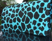 Coupon Organizer Holder Turquoise and Black Cow Print Fabric Black Lining