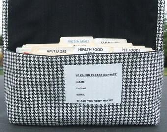 Coupon Organizer, Coupon Holder, Coupon Bag, Coupon Binder, Receipt Holder, Houndstooth Fabric
