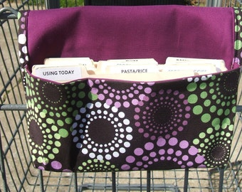 Coupon Holder, Coupon Organizer, Receipt Holder, Coupon Purse, Purple and Green Dots Fabric