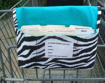 Coupon Purse Organizer Zebra Fabric with Turquoise Lining