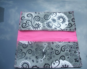 Checkbook Cover Fabric Gray Silver and Hot Pink
