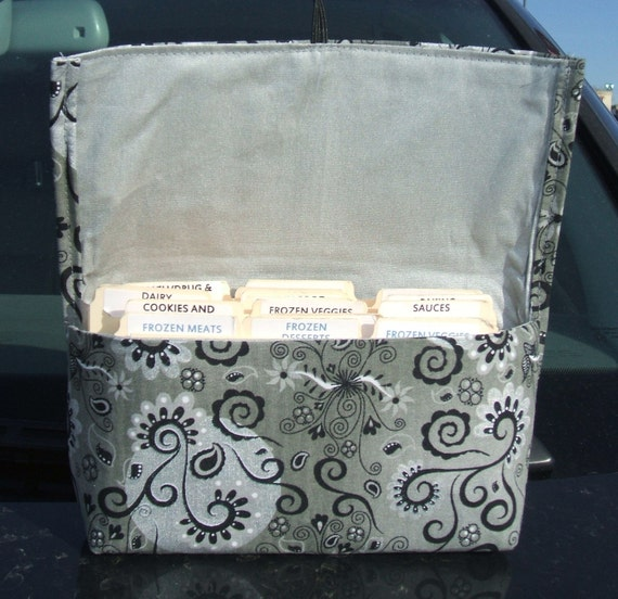 Coupon and Purse Organizer Holder Silver Magical Fabric with IRONING BOARD fabric lining