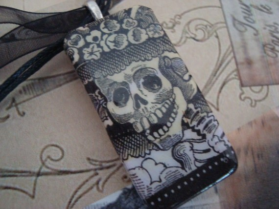 Day of The Dead Skeleton Recycled Domino Pendant With FREE Ribbon Necklace