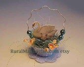 Easter Bird Ornament Swan Ornie Feather Tree Egg Tree Flowers Tinsel Mercury Glass Balls Glitter Forget Me Not Moss Spring Decoration Blue