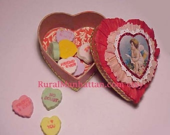 Heart Candy Container Valentines Cupid Candy Box Bonbon Red Love Pink White Cherub Conversation Heart Ornament