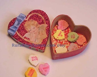 Vanlentine Candy Box Heart Candy Container Cupid Angel Bonbon Red White Ribbon Glitter Heart Trim Cupid's Arrow Chocolate Conversation Heart