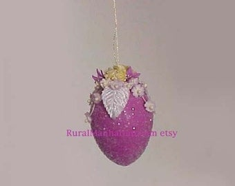 Easter Egg Ornament Ornie Feather Tree Egg Tree Millinery Flowers Purple Decoration
