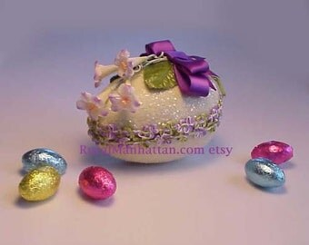 Easter Egg Candy Box Candy Container  Egg Box Bonbon Millinery Flowers Sugar Egg Morning Glories Flower Trim Treat Box Purple White Green