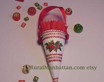 Feather Tree Cone Ornament Candy Container Feather Tree Christmas Tree Ornie Bonbon Holly Red Green White Candy Box Candy Cane Victorian