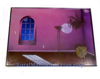 80s Painting- The Box Airbrush Colored Pencil Moonlight Frame Wall Hanging Art Work Painting Home Decor