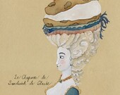 Ice Cream Sandwich Chocolate Chip Cookie Marie Antoinette Watercolor Painting 5x7