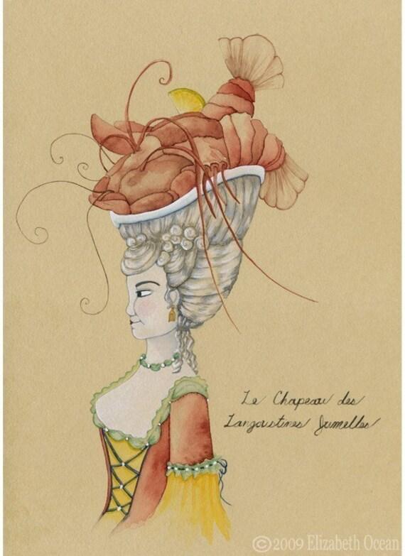 5x7 Le Chapeau des Langoustines Jumelles            -watercolor print-
