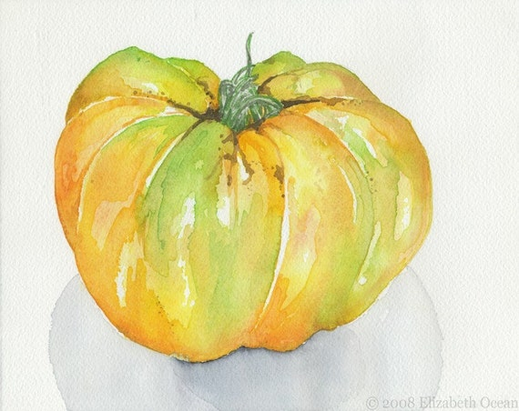 Heirloom Tomato Yellow Tomato Kitchen Art by ElizabethOcean