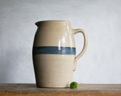 Antique Stoneware Pitcher with Wide Blue Band