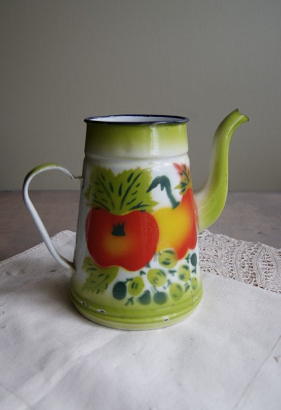Enamelware Pitcher with Autumn Vegetables