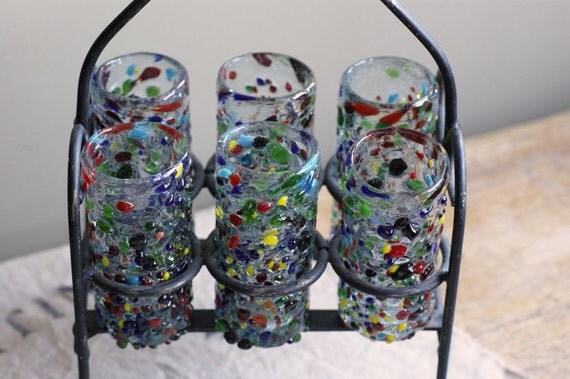 Confetti Shot Glasses, Mid Century Modern