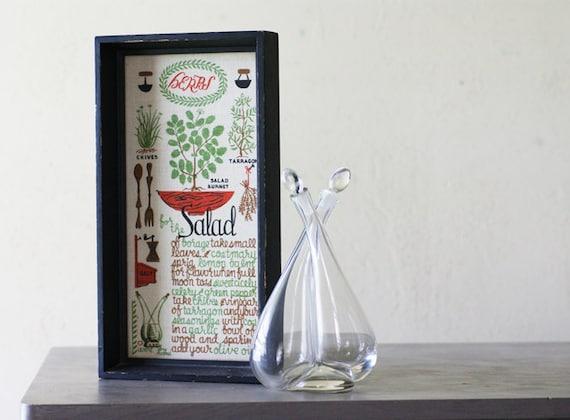 Vintage Framed Recipe, Wert Screen Print,  Glass Salad Cruet, Linen, Kitchen Art, Wall Art