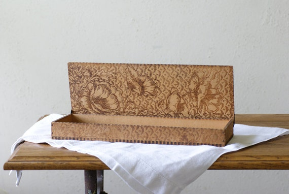 Pyrography Glove Box with  Poppies