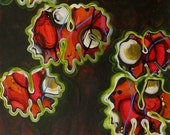 Bloodroot, cells, red, brown, plants, acrylic and ink painting on paper