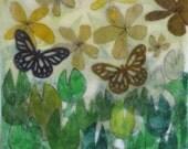 Butterfly Garden, original mixed media encaustic painting