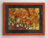 Orange Autumn harvest painting: Learning to Fly, maple seeds, seed pods, tangerine, acrylic and ink painting on paper, wall decor