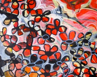 In the Blaze of the Red Hot Sun, acrylic and India ink painting on paper, scarlet red, flowers, abstract art