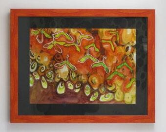 Orange Autumn harvest painting, maple seed pod painting