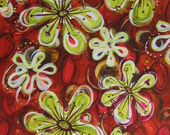 Habiscus Painting, acrylic painting on paper, red hibiscus, 40% off coupon code: GREENGOLD
