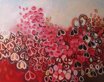 Hearts painting: Love in the Mist, original abstract oil painting, red, pink, hearts, seed pods