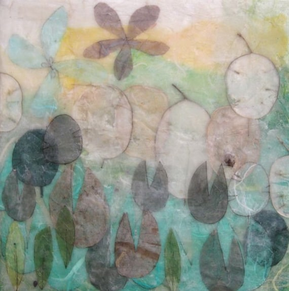 Misty Spring Morning, spring colors, encaustic painting