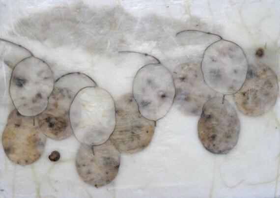 Rolling White Breezes, encaustic painting, framed art