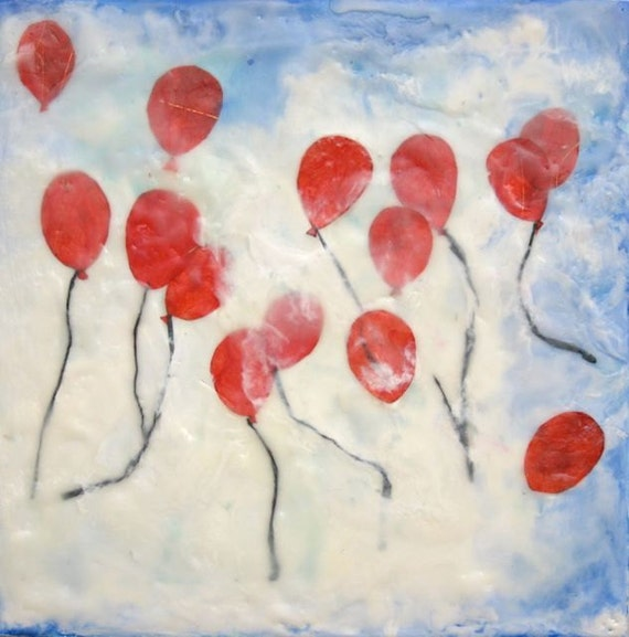 Up in the Clouds, original encaustic painting