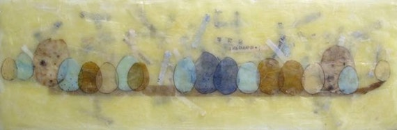 Easter Lineup, original beeswax encaustic painting, mixed media