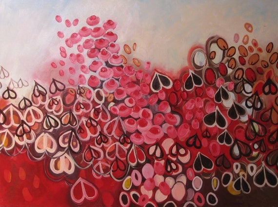 Hearts painting: Love in the Mist, original abstract oil painting on canvas, red, pink, hearts, seed pods