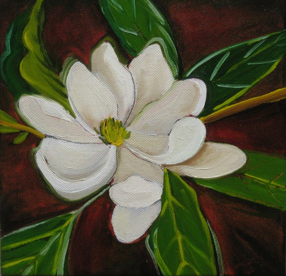 Magnolia Blossom painting, flower painting, 40% off coupon code: GREENGOLD