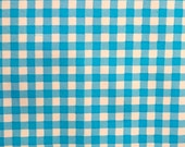 Turquoise Blue Gingham Oilcloth -- Now Sold by the continuous 1 yard -- 8.00 per yard