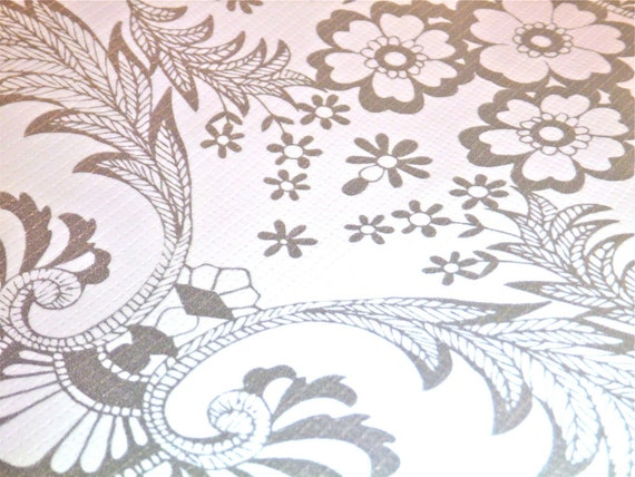 Silver Lace Oilcloth -- Sold by the 1/2 yard -- 3.98 per half yard