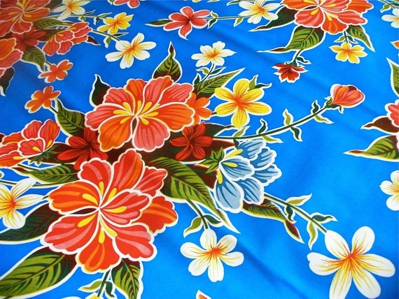 OILCLOTH ADDICTS FAT QUARTER---Blue Hibiscus Oilcloth