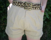 Vintage Beige 80's Cargo Tan Short Shorts. Fall. Brown. Light