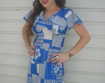 Vintage 60's Dress. Blue. Flutter Sleeves. Spring Summer Day Dress