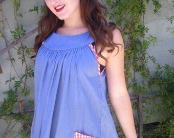 Vintage 60's Dress. Blue Picnic Dress. Gingham. Rockabilly. Cotton.