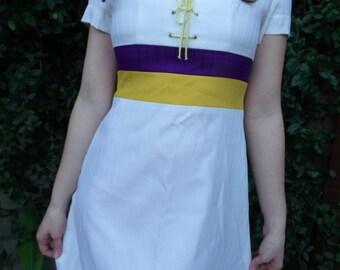 Vintage LAKERS White Mini Day Dress Lakers Colors Mini Dress