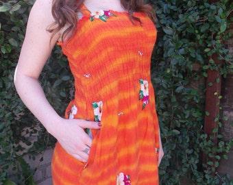 Vintage 60's Sundress. Luau Day Dress. Birds Flowers. VLV. Hawaiian Dress