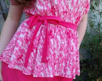 Vintage Pink Day Dress. Puff Slv. 60's 70's Dress. VLV. Pin Up. Rockabilly Dress. Swing.