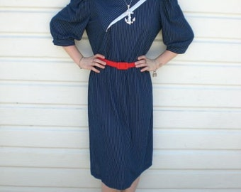 Vintage 70's Dress Secretary Day Dress. Sailor Nautical. Navy Blue and White
