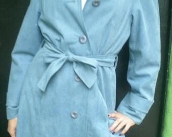 Vintage Blue Coat. 60's 70's Blue Dress Coat SPY coat. Mad Men.